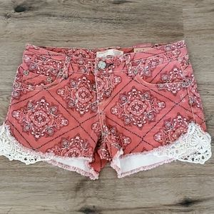 Red Paisley Lace Trim Shorts